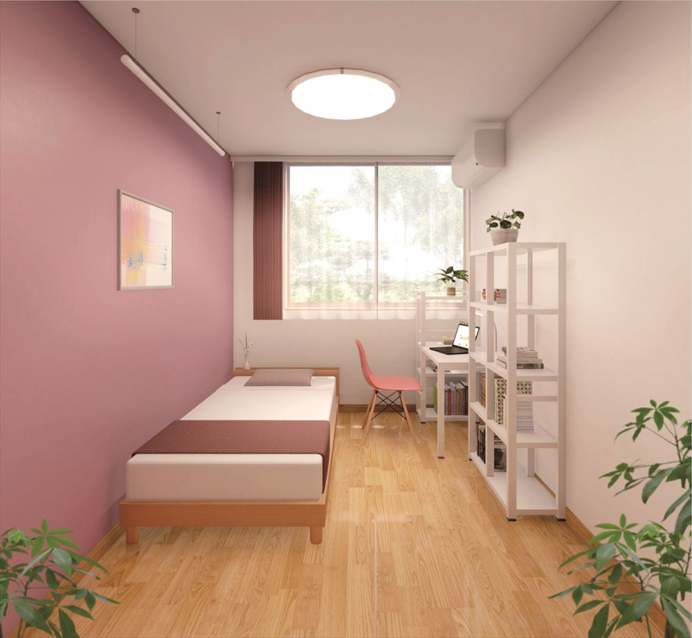 picture of a single bedroom of a new apartment suite
