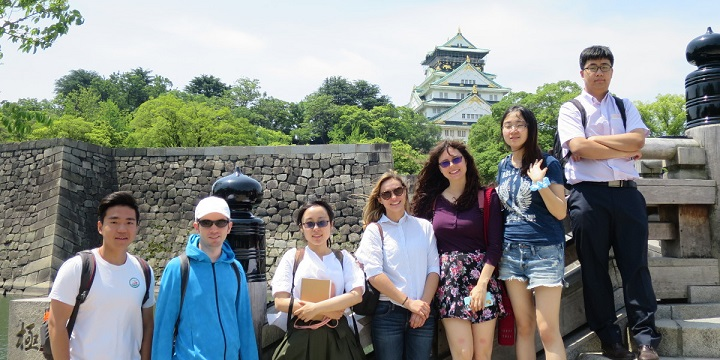 Picture of Akita International University students at Osaka Castle study abroad history seminar
