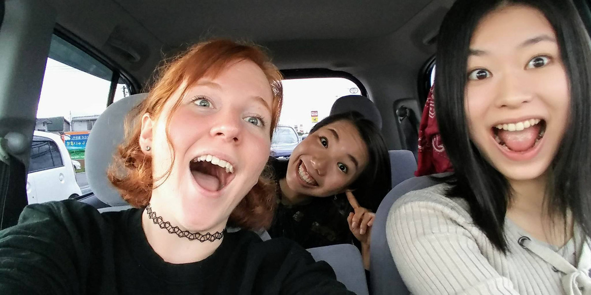 Lexi Dittrich from Alverno College driving with friends from Akita International University
