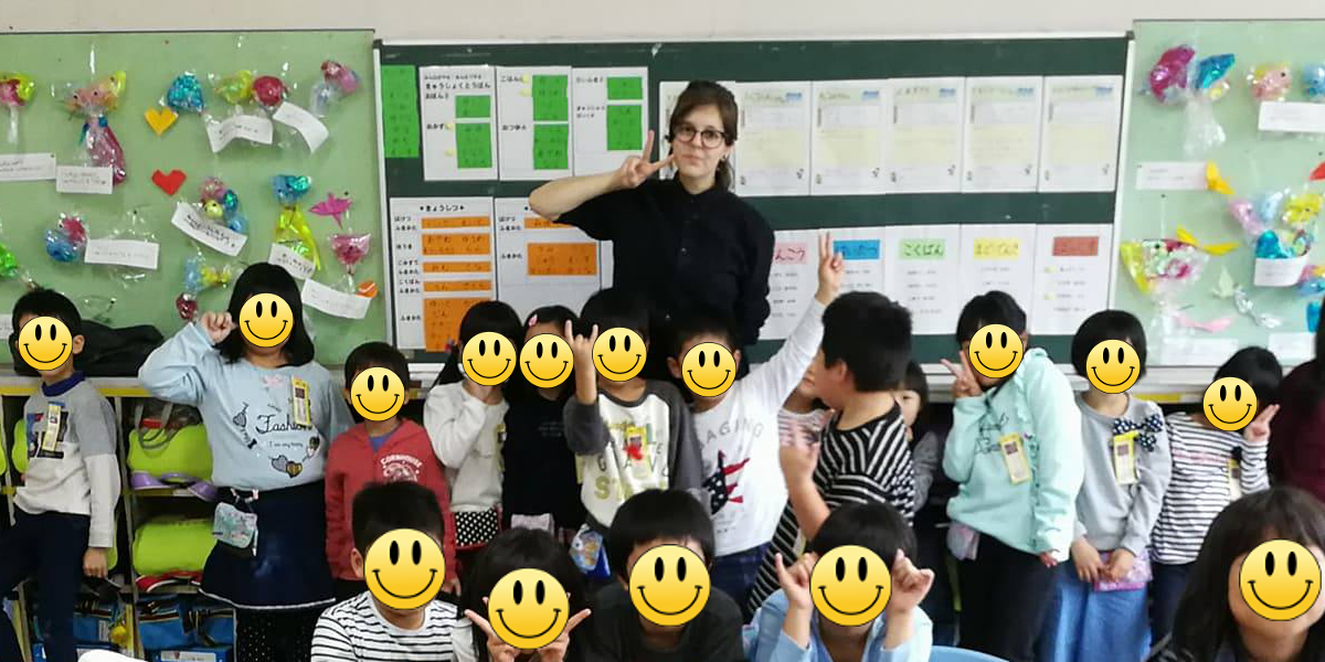 Eliska Sehnoutkova in Japanese elementary school classroom Japan