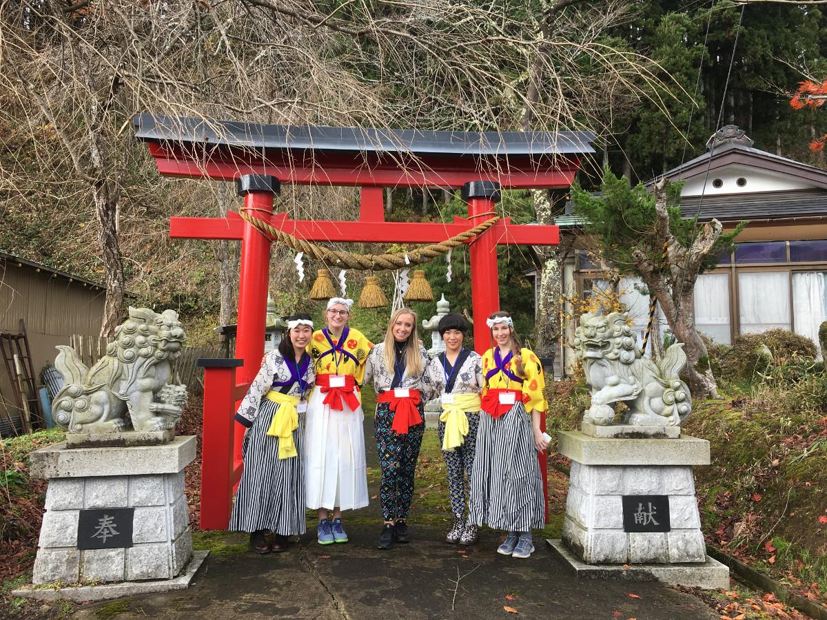 Akita International University international students shrine visit