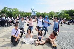 Akita International University Students at Nagasaki Peace Park