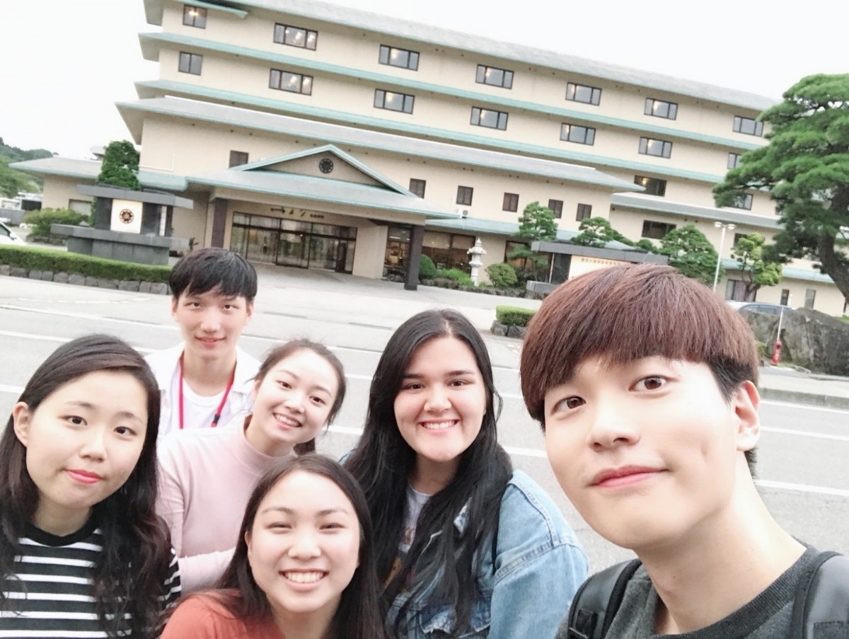 Konkuk University Akita International University students at hot spring