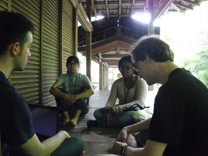 Picture of an on-site lecture and discussion at Rryoanji, Kyoto