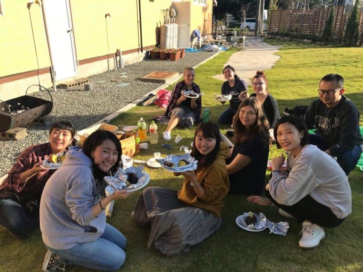Akita International University Japanese Art and Nature Themed House international students with yakiimo