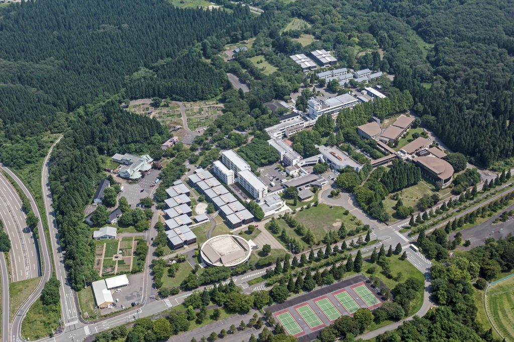 View of the AIU campus as seen from the air; it's surrounded by woods.