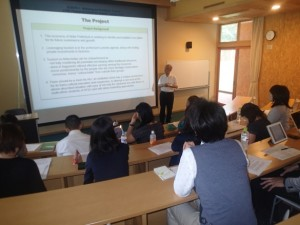 Lecture by the prefectural staff on Akita's tourism-related policies