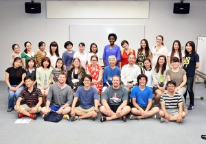 With the teachers and students of Ogachi Japanese Language School (Photo taken by Mr. Mitsuya Watanabe)