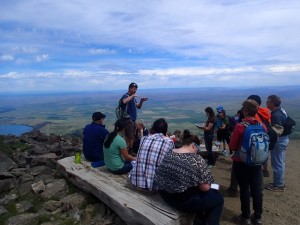 View of Wallowa County from the top of Mt. Howard. Wallowa Resources staff member explains about the local industry and natural resource management. (June 21)