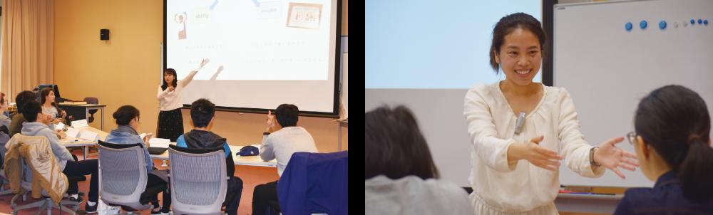 キャンパス内外での日本語教育実践領域の授業の写真