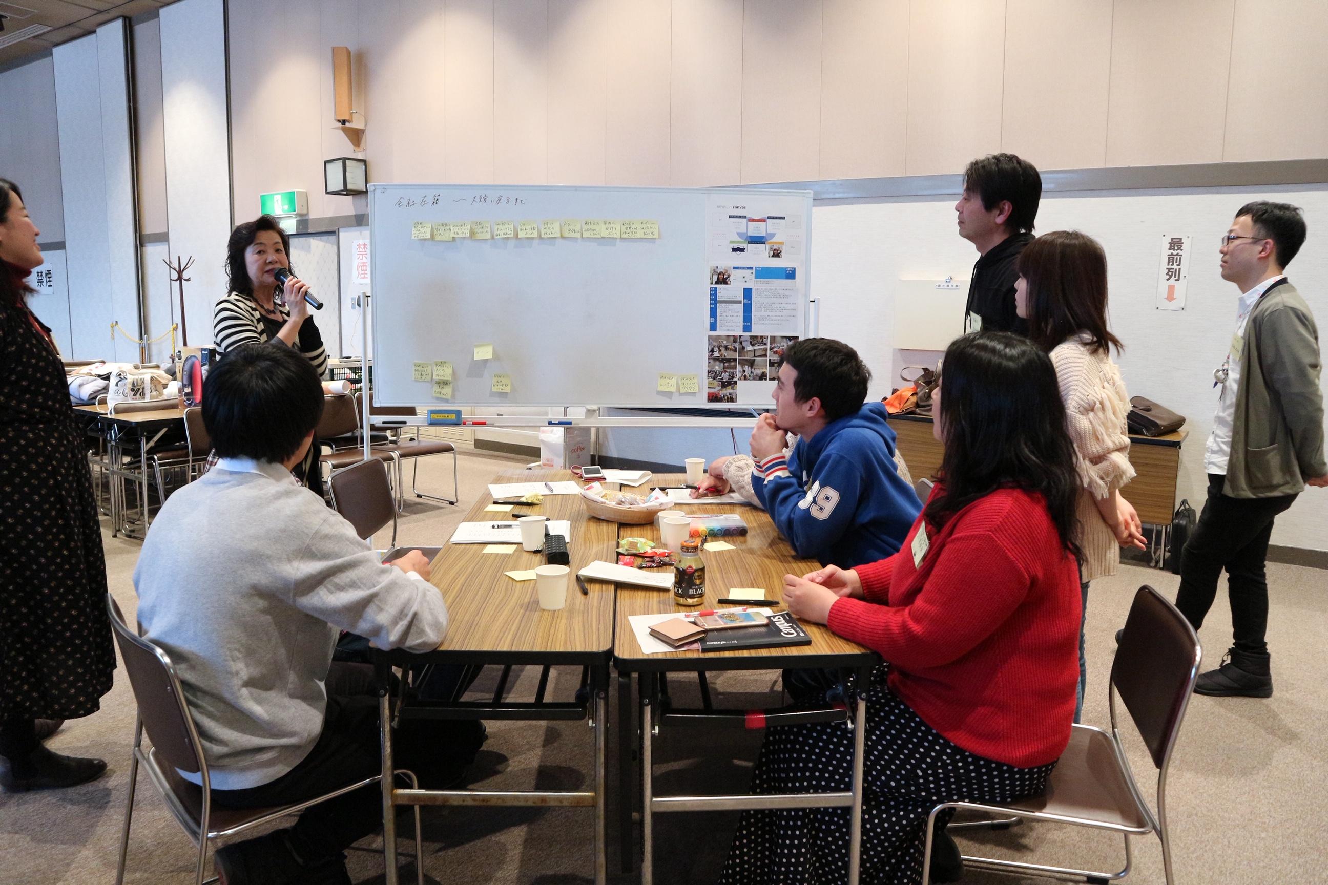 参加者同士がホワイトボードを前に議論している写真