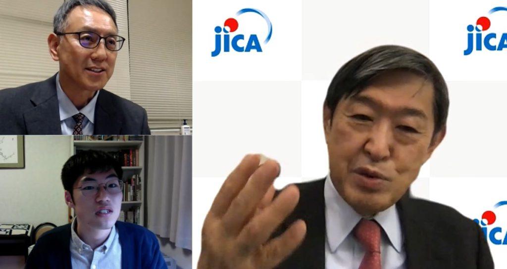 北岡理事長と、司会の熊谷副学長、学生がそれぞれの場所からZoom上で質疑応答する様子