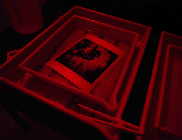 Picture of developing a print in the darkroom under a red safe-light