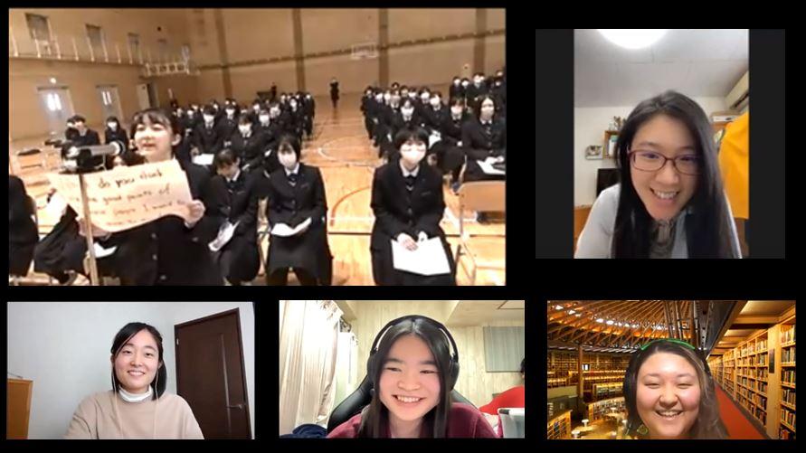 中国語で質問をする大館国際情報学院の生徒さんと質問に答える本学の留学生