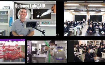大館国際情報学院高校とアンディ教授のオンライン科学実験の様子