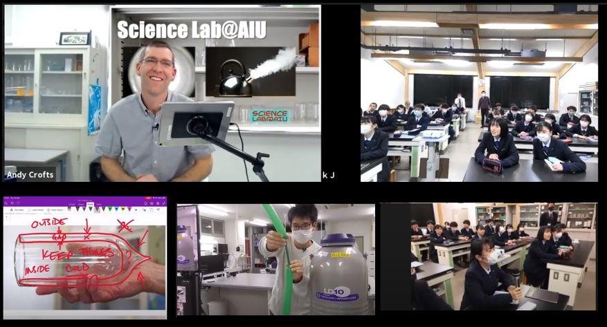 大館国際情報学院高校とクロフツ教授のオンライン科学実験の様子
