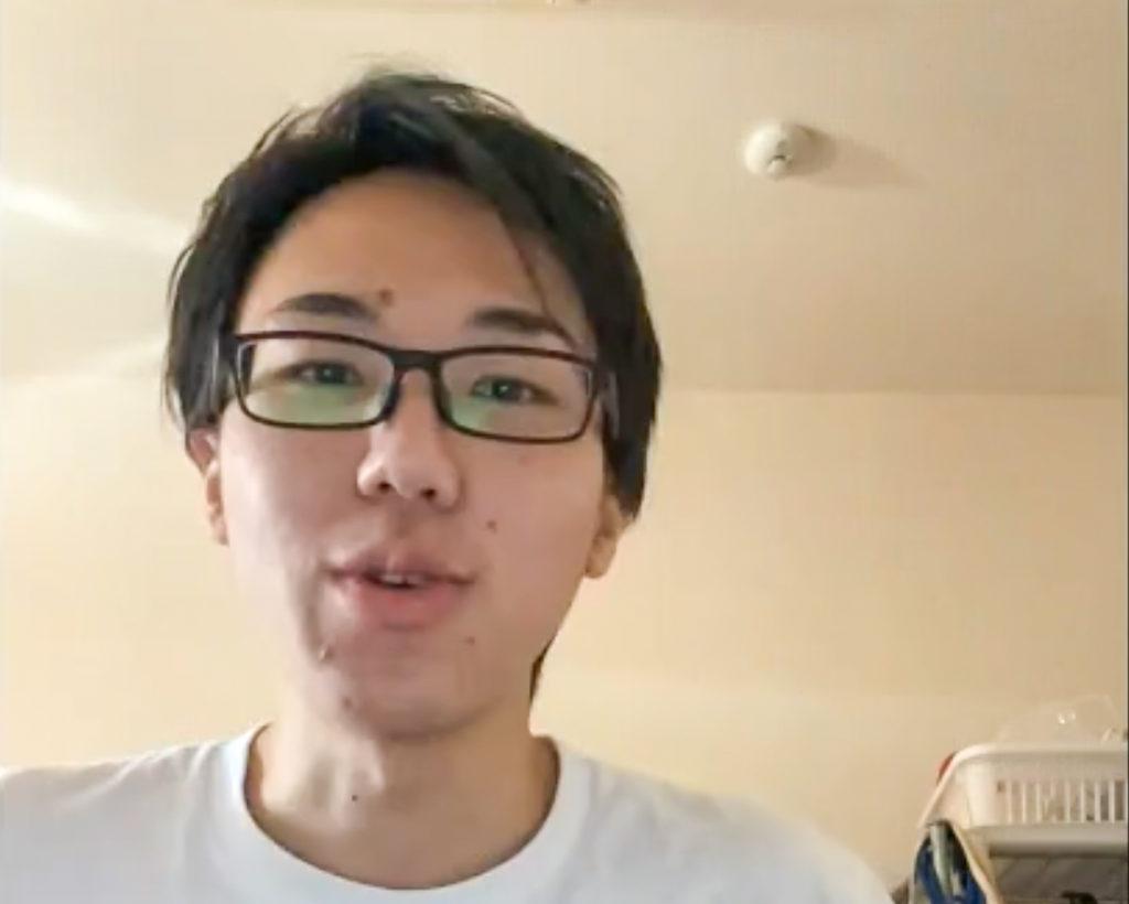 ビデオ通話でのインタビューにて画面越しに話す河野さんのスクリーンショット